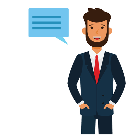 Male attorney cartoon flat illustration concept on isolated vector white background Vettoriali