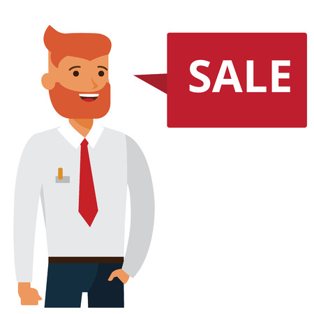 Man says sale cartoon flat illustration concept on isolated vector white background