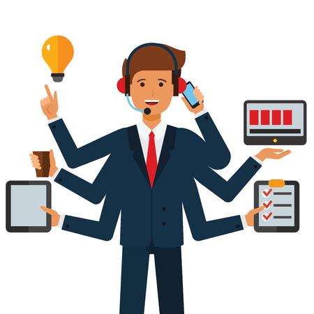 Multitasking businessman  cartoon flat illustration concept on isolated vector white background