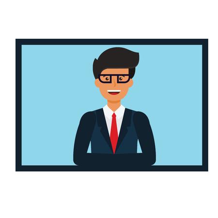Concept de présentation de l & # 39 ; homme d & # 39 ; affaires en ligne illustration de dessin animé sur fond Banque d'images - 88346817