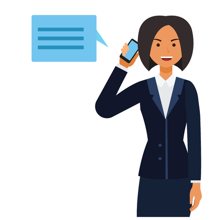 Business CEO woman making phone call cartoon flat illustration concept on isolated vector white background