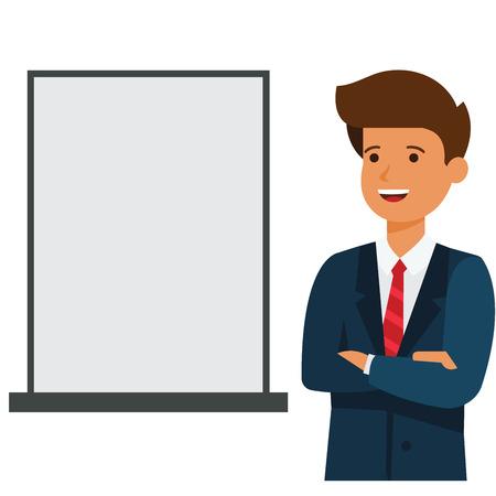 ビジネス マン表示空白の広告ボード漫画フラット図概念分離ベクトル白い背景に