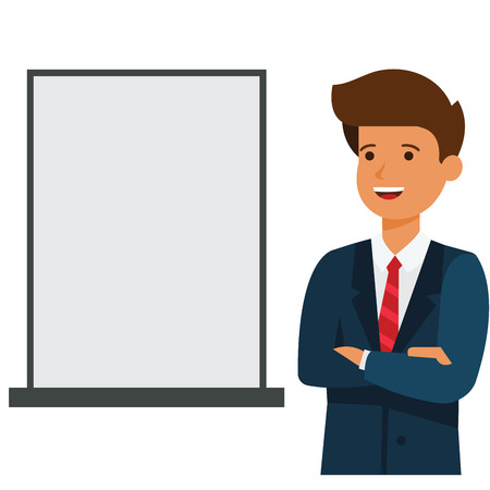 Business man showing blank advertising board cartoon flat illustration concept on isolated vector white background Ilustração