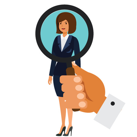 Search for businesswoman concept cartoon flat illustration concept on isolated vector white background
