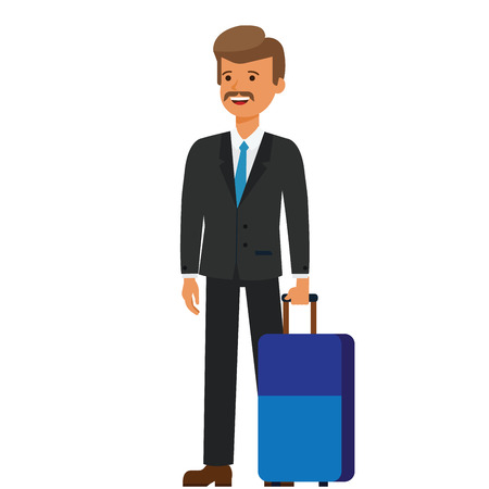 Business travel, businessman with luggage cartoon flat illustration concept on isolated vector white background