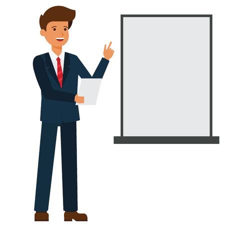 Businessman is making presentation cartoon flat illustration concept on isolated vector white background