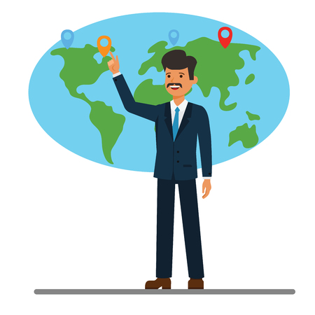 Businessman pointing at global world map cartoon flat illustration concept on isolated vector white background Illustration