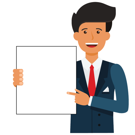 Businessman showing blank document cartoon flat illustration concept on isolated vector white background