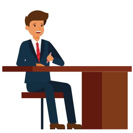 격리 된 벡터 흰색 배경에 office 테이블 만화 평면 그림 개념에 앉아 사업가