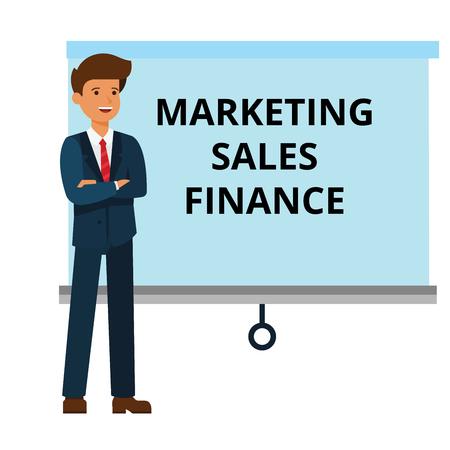 Businessman with marketing, finance, sales presentation cartoon flat illustration concept on isolated vector white background Illustration