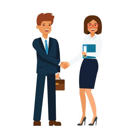 Onderneemster en zakenman die zich en het vlakke concept van de handenbeeldverhaal samen op geïsoleerde vector witte achtergrond verenigen schudden
