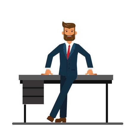 격리 된 벡터 흰색 배경에 만화 평면 그림 개념 사무실에서 테이블에 기울고 보드의 회장