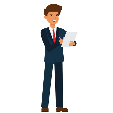 Standing businessman writing contract cartoon flat illustration concept on isolated vector white background