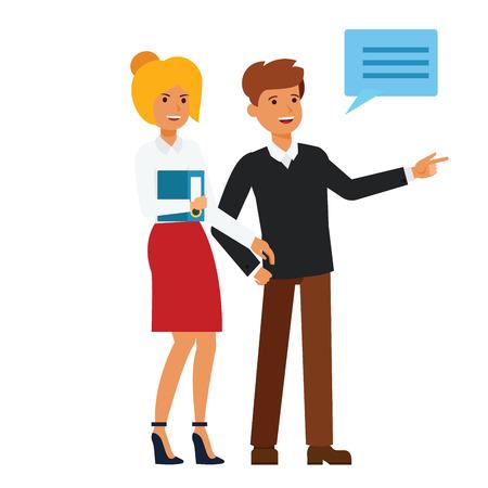 幸せな顧客が何かを示す漫画分離ベクトル白い背景にフラットの図の概念
