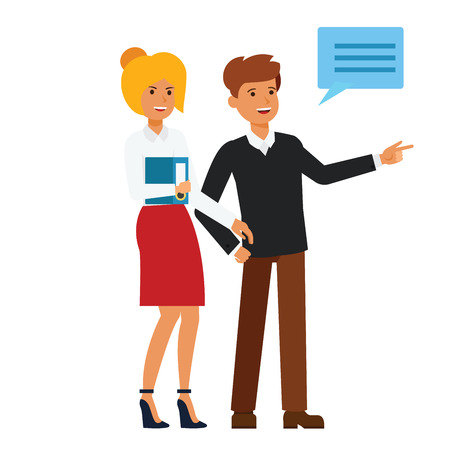 Happy customers showing something cartoon flat illustration concept on isolated vector white background Ilustração
