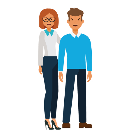 Happy standing couple, man and woman cartoon flat illustration concept on isolated vector white background