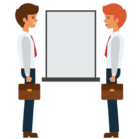 Two businessmen talking near presentation board cartoon flat illustration concept on isolated vector white background