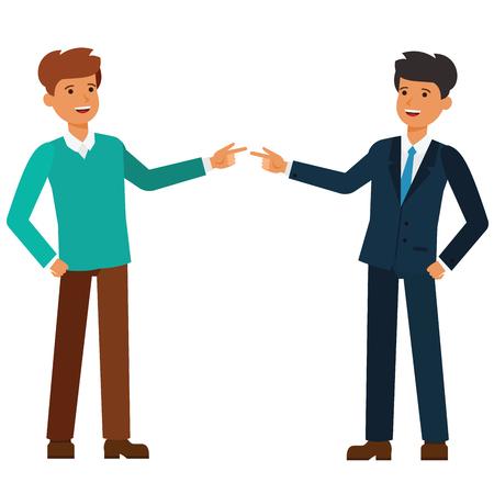 Werkloos en employeed vlakke de illustratieconcept van de zakenmanbeeldverhaal op geïsoleerde vector witte achtergrond Stock Illustratie
