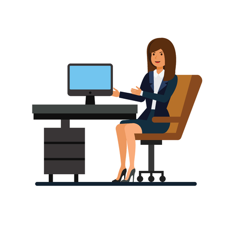 Weibliche Kundenbetreuung, arbeitend am Vektor-Illustrationskonzept der Bürokarikatur flach auf lokalisiertem weißem Hintergrund
