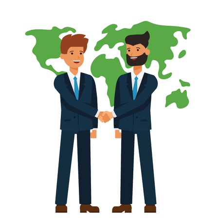 Global partnership, businessmen shaking hands  cartoon flat illustration concept on isolated vector white background
