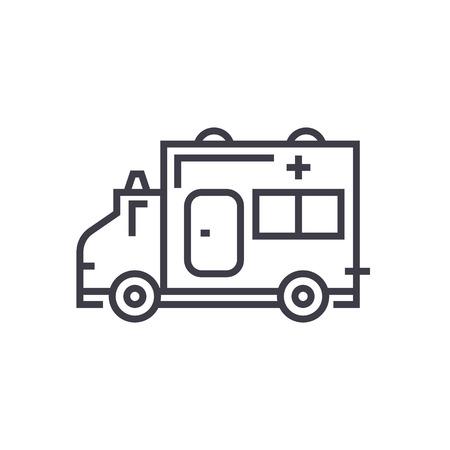 Ambulance line icon Illustration