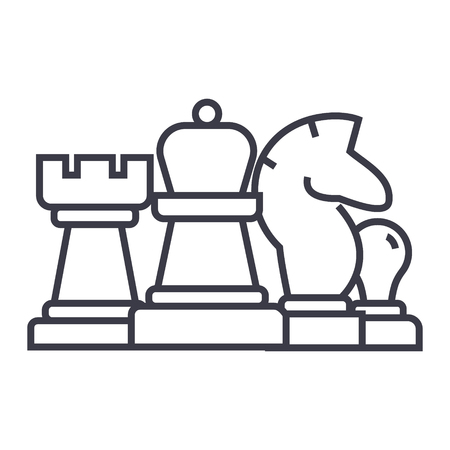 Chess, horse, rook, pawn, queen line icon, sign, symbol, vector on isolated background