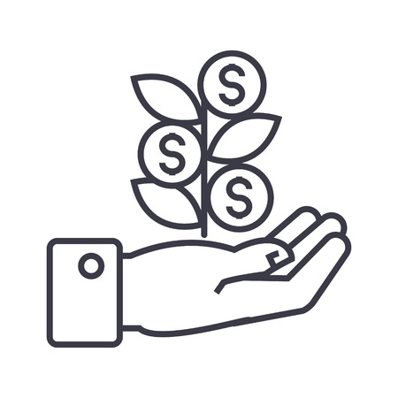 Hand with money tree line icon, sign, symbol, vector on isolated background
