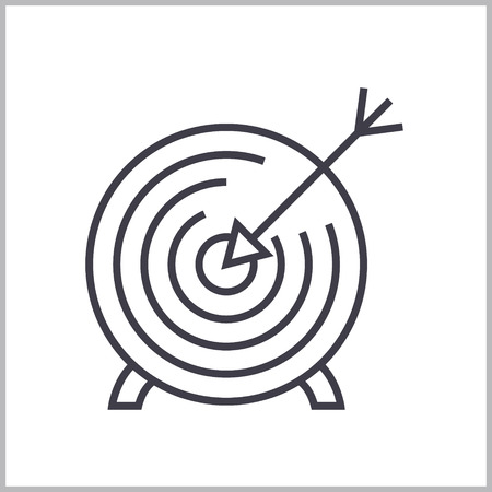 Goal target line icon, sign, symbol, vector on isolated background Illustration
