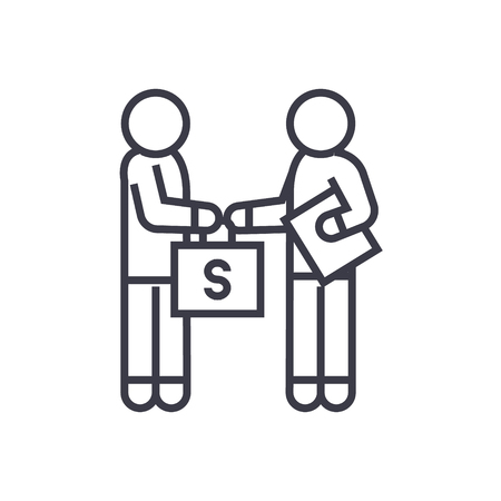 Bribery and corruption, man giving money line icon, sign, symbol, vector on isolated background