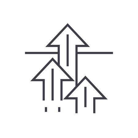 Kans concept lijn pictogram, teken, symbool, vector op geïsoleerde achtergrond