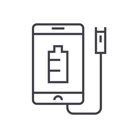 Phone charging line icon, sign, symbol, vector on isolated background