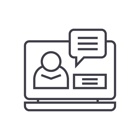 Online conference line icon, sign, symbol, vector on isolated background