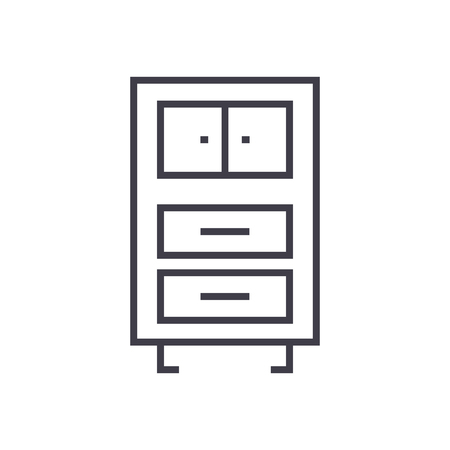 Office cupboards line icon, sign, symbol, vector on isolated background