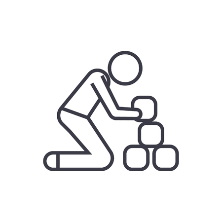 Man taking bricks line icon, sign, symbol, vector on isolated background