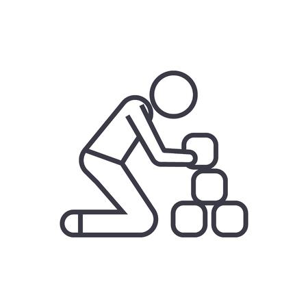 Homem, levando, tijolos, linha, ícone, sinal, símbolo, vetorial, ligado, isolado, fundo