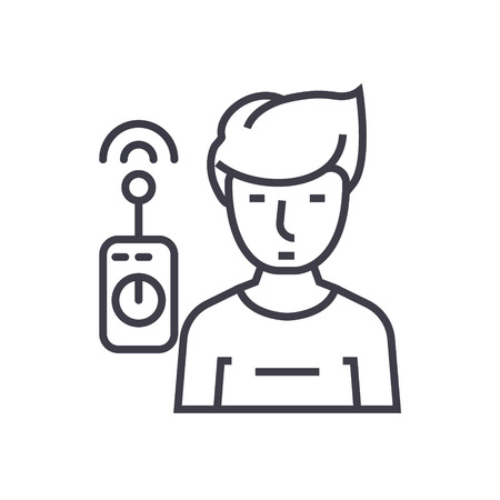 Operator with remote controller line icon, sign, symbol, vector on isolated background