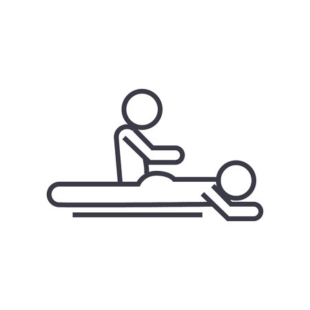Massage spa therapy line icon, sign, symbol, vector on isolated background