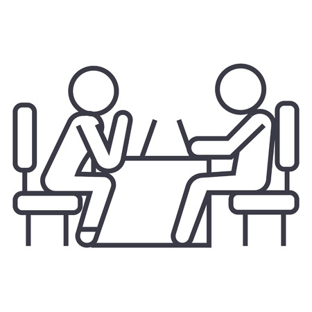 Psicologo e icona linea paziente, segno, simbolo, vettore su sfondo isolato