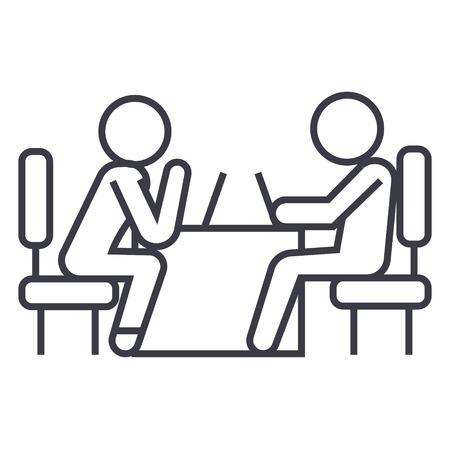 Psycholoog en geduldige lijn pictogram, teken, symbool, vector op geïsoleerde achtergrond