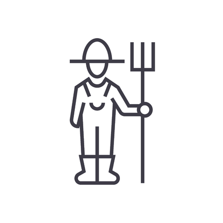 Male farmer with hayfork line icon, sign, symbol, vector on isolated background