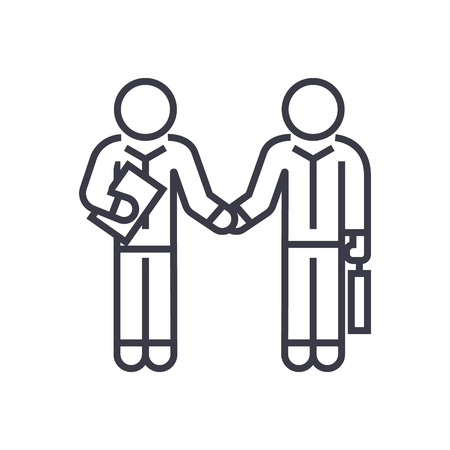 Hand shaking businessmen, agreement line icon, sign, symbol, vector on isolated background