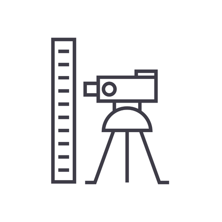 Theodolite survey calculation line icon, sign, symbol, vector on isolated background Illustration
