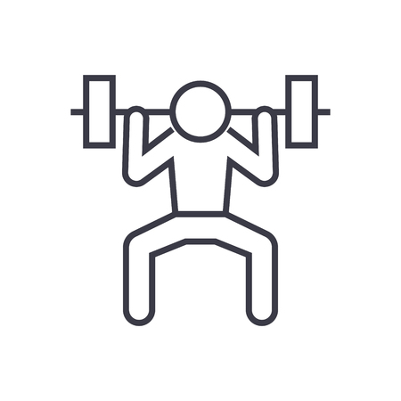 Weight lifting man line icon, sign, symbol, vector on isolated background