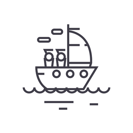 Yacht sailing line icon, sign, symbol, vector on isolated background