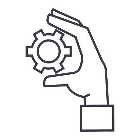 Settings gears in hand line icon, sign, symbol, vector on isolated background