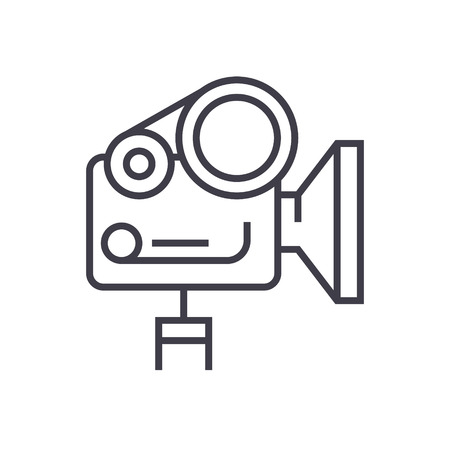 Movie camera line icon.