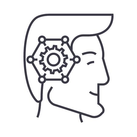 Strategic thinking head line icon.