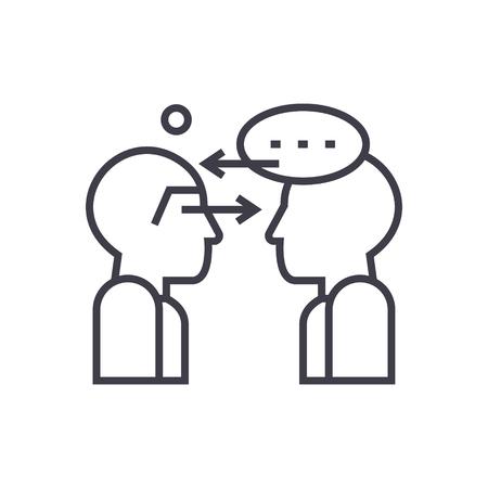 Synergy talks line icon. Ilustracja