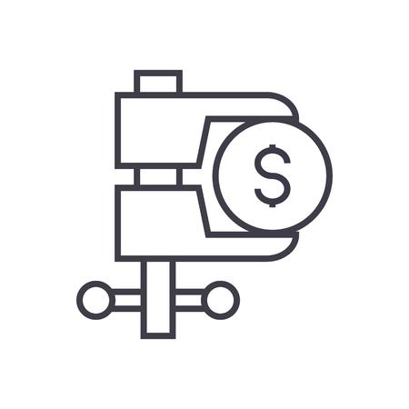 Tax reduction line icon. Illustration