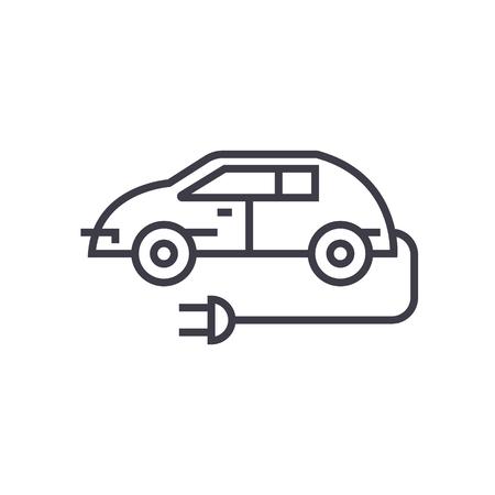 Elektrische auto lijn pictogram. Stock Illustratie